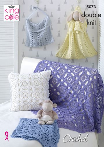 King Cole Crochet Pattern, Blankets, Cushions, Toy Bag and Nappy Bag, 5073,